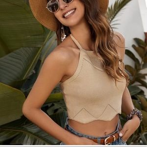 Coming soon! Scalloped Boho Halter in Taupe